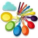 XGiGiX 12PCS Rainbow Measuring Cups and Measuring Spoons Set , Calibration Clear, Colorful ,Included 1 pcs Cloud Shape Dishwashing Sponge. (Rainbow)
