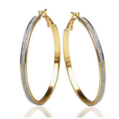 GEMINI Dama Dos Tonos Oro Plata Brillante Destello Grande Redondo Pendientes De Aro Día De San Valentín Regalo Gm170, Tamaño: 2