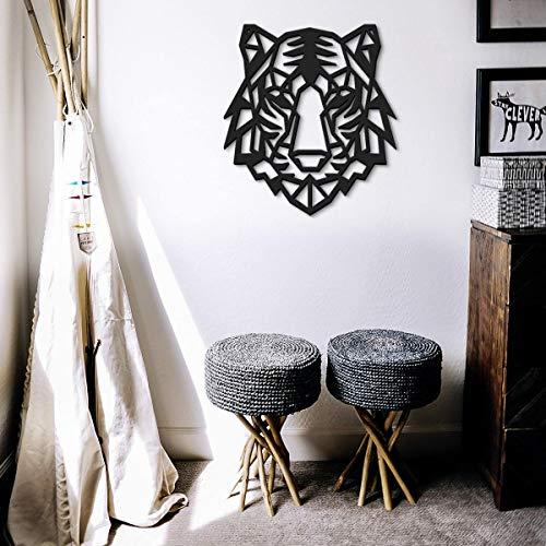 ODUN ARTS - Tigre - Cuadros Decorativos Modernos Elaborados en Madera - Decoración Elegante de Pared - 67 cm Alto X 61 cm Ancho X 1 cm...