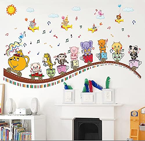 BOUTIKS Adhesivos Pared, Decoración Pared, Arte DIY PVC Decoración Del Hogar Pegatinas de Pared Murales para Ventanas, Puertas, Gabinetes, Vidrio y Pared, 130x90 cm, Dibujos Animados