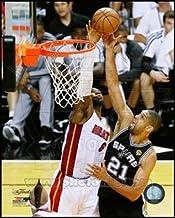 LeBron James blocks Tim Duncan's shot Game 6 of the 2013 NBA Finals Art Poster PRINT Unknown 8x10