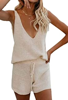 Yisism Womens Cover Bikini Sleeveless 2 Up Pcs Outfits Knit V Neck Summer Sets