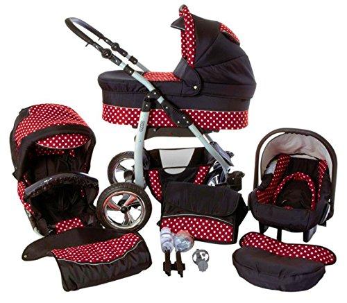 Chilly Kids Dino 3 in 1 Kinderwagen Set (Autosit & Adapter, Regenschutz, Moskitonetz, Schwenkräder) 34 Schwarz & Rot & Punkte