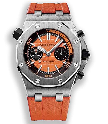 Sportliche Herren Armbanduhr, Saphirglas, Japan Quarzwerk, Didun Royal One Sport Silber/Orange