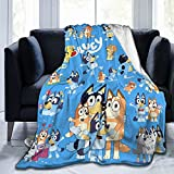 Cartoon Blue Dog Blanket 3D Print Throw Blanket Super Soft Warm Flannel for Bed Sofa Couch 50x40 Inch