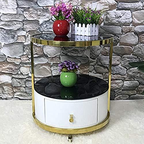 TXXM® Herstellung Modische Rundnachttisch, moderner Edelstahl-Seiten europäischer Stil Französisch Massivholz-Lagerschrank Praktische Möbel
