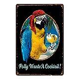 Lumanuby 1x Schönes Papagei Pirat und Wein Deko Wandschild
