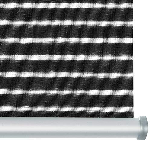 casa pura® Rollo Deluxe Stripe Antracite | Blickdicht & lichtdurchlässig | Klemmrollo für Fenster, auch ohne Bohren anbringbar | mit Metallschiene und -Kette | 9 Größen (75x150cm)