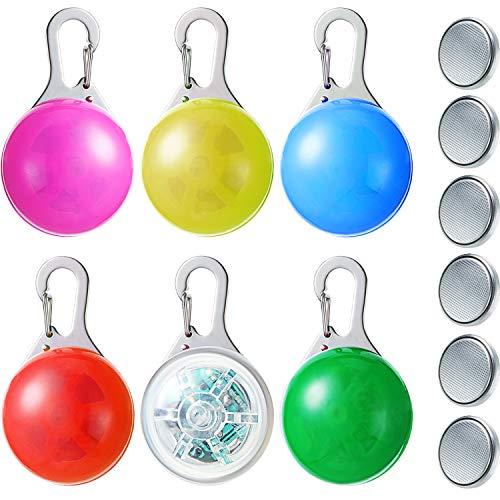 Luces LED de Collar de Perro Luz Clip en Collar Flash de Mascotas Luces de Collar de Seguridad Coloridas a Prueba de Agua con 3 Modos de Parpadeo (Amarillo, Rojo, Rosa, Blanco, Azul, 6 Piezas)