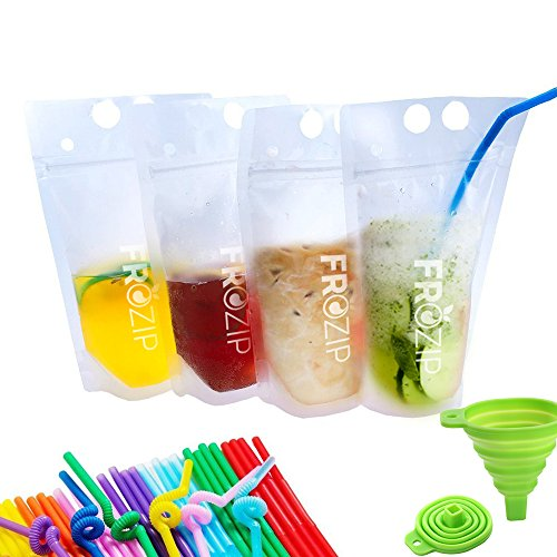 Deluxe 50-Pcs Disposable Drink Container Set by FroZip - Drink Pouches W/Gusset Bottom & Reclosable Zipper for Cold & Hot Drinks - Non-Toxic, BPA & Phthalate Free - 50 Straws & Funnel Included