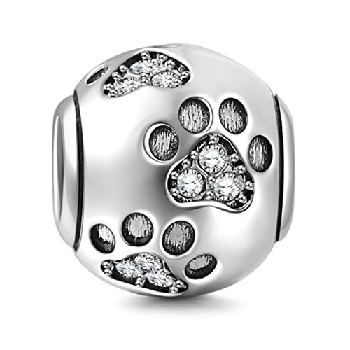 Paw Prints Solid 925 Sterling Silver Charm with Austrian Crystal Designs Ball Shape European Style Beads and Charms