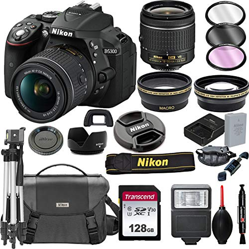 Nikon D5300 DSLR Camera with 18-55mm VR Lens + 128GB Card, Tripod, Flash,...