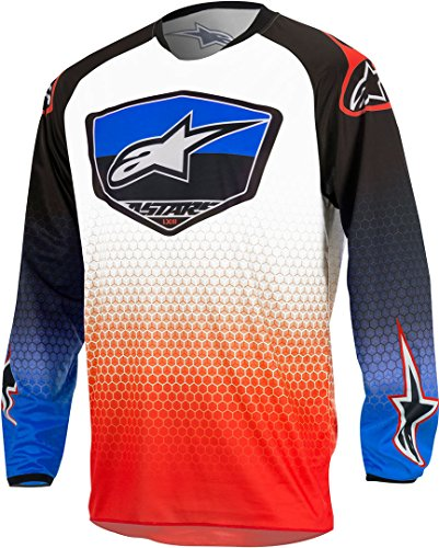Motorcycle Alpinestars Racer Supermatic Jersey White Red Blue XL