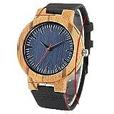 Reloj de Madera Bambú Grabado, con Caja, Texto y Dibujo - Reloj para Regalo, Marido, Mujer, Aniversario, Navidad, cumpleaños (MarBig)