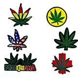 OYSTERBOY Assorted 6 Pieces 3 x 3 inch / 8 x 8 cm Cannabis Hemp Marijuana Weed Grass100% Embroidery Iron on/ Sew On Red Yellow Green USA America Flag Decorative Aplique Patch