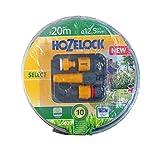 Hozelock Gartenschlauch Select Schlauch verschleißfest mit 3/4 Zoll (= 19mm) oder 1/2 Zoll (=12,5mm) Durchmesser, Größe:1/2 Zoll Durchmesser, Länge:20m + Spritzdüse + Hahnadapter + Schlauchkupplung