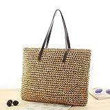 lievt animgb - Bolsa de viaje para playa o playa, trenzada de paja trenzada, doble propósito, bolsa cruzada, marrón claro