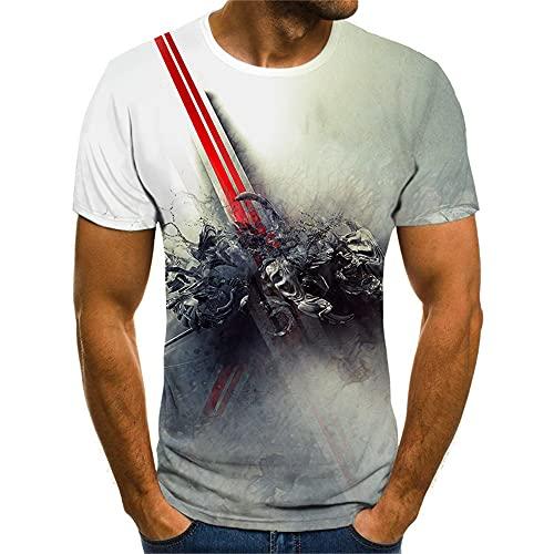 Streetwear Hombre Manga Corta Estilo Hip Hop Cuello Redondo 3D Estampado Novedad Hombre T-Shirt Verano Personalidad Moda Hombre Shirt Tendencia Creativa Hombre Ocio Shirt TX8116 L
