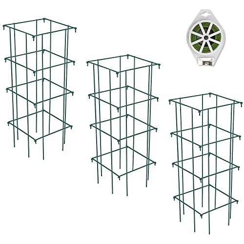 GROWNEER 3 Packs 39 Inches Square Folding Tomato Cages Plant Support Stake...
