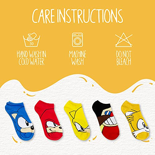 Sonic The Hedgehog Boys No Show Video Game Socks (5 Pack), Sock Size: 9-11, Sonic Big Faces