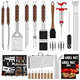 ROMANTICIST 31pcs BBQ Grill Tool Set for Men Dad, Heavy Duty Stainless Steel Grill Utensils Set, Non-Slip Grilling Accessories Kit with Thermometer, Mats in Aluminum Case for Travel, Outdoor Brown