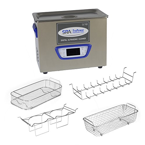 SRA TruPower UC-45D-PRO Professional Ultrasonic Cleaner, 4.5 liter Capacity with LCD Display, Sweep/Degas, Adjustable Power, Sleep Function, 2 Baskets, Wire Ring Rack and Wire Beaker Holder