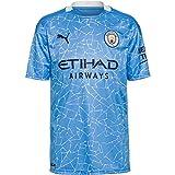 PUMA Manchester City Temporada 2020/21-HOME Shirt Replica SS with Sponsor Camiseta Primera Equipación, Unisex, Team Light Blue-Peacoat, XXL