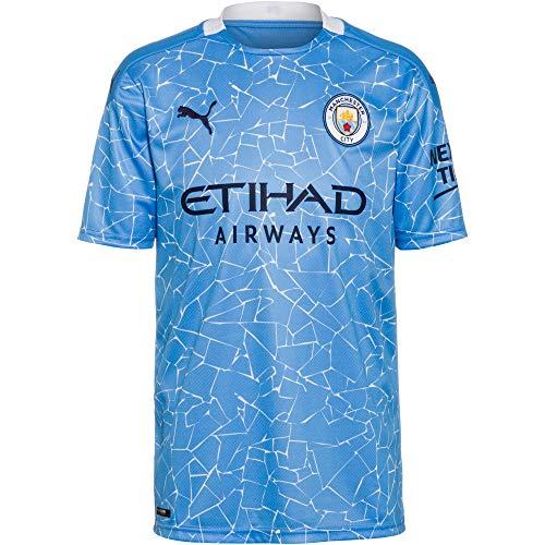 PUMA - Maglietta da Uomo 20/21 Home Manchester City FC Replica con Logo Sponsor Team Light Blue Peacoat, S