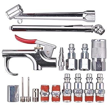 WYNNsky Air Tool And Accessory Kit,1/4  NPT 17 Piece Air Compressor Accessories w/Blow Gun/Tire Gauge/Storage Case