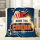 BJOLEdS Cinema Movie Poster Throw Blanket Popcorn Filmstrip Clapboard Tickets Movie Time Banner Shining Extra Soft Warm Lightweight Cozy Flannel Plush Blankets for Babies Family Pets 32 X 48 Inch
