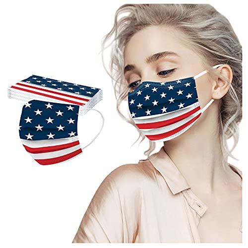50PCS Adult 4th of July Face_Masks with 3 Layer Face Filter with Elastic Earloop,USA Flag Elements Design with Color Print Pattern,Breathable Comfortable for Holiday Party Gift