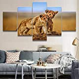 ARIE 5 Piezas Cuadro Cachorro De León Animal 5 Piezas Impresión En Lienzo Tablero del Moderno Cuadro De Pintura Póster De Arte Sala De Decoración Hogareña