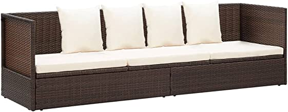 vidaXL Outdoor Lounge Bed with Cushion&Pillows Wooden Garden Patio Foldable Folding Dinner Table and Chairs Furniture Sett...