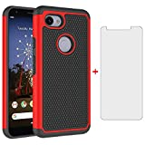 Phone Case for Google Pixel 3a XL with Tempered Glass Screen Protector Cover and Cell Accessories Hard Hybrid Slim Rugged Silicone Rubber TPU Pixel3aXL Pixle 3aXL A3 Pixel3a LX Cases Women Black Red