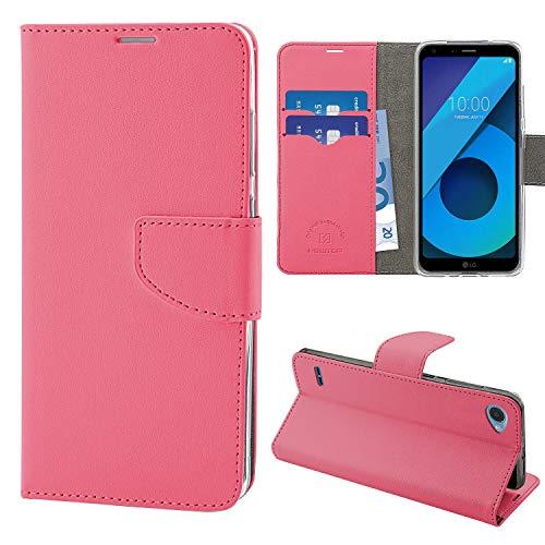 N NEWTOP Cover Compatibile per LG Q6, HQ Lateral Custodia Libro Flip Chiusura Magnetica Portafoglio Simil Pelle Stand (Fucsia)