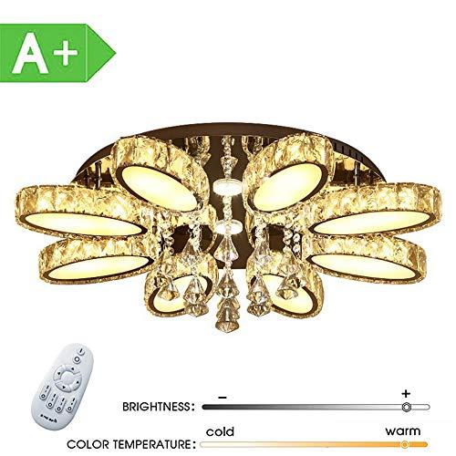 ZDHG LED plafondlamp kristal 84W dimbaar, ronde plafondlamp creatieve spaarlamp voor woonkamer, slaapkamer, eetkamer [energieklasse A]