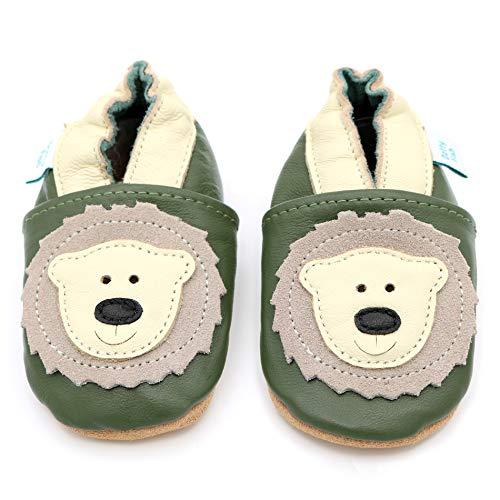 Dotty Fish weiche Leder Babyschuhe mit rutschfesten Wildledersohlen. 18-24 Monate (23 EU). Bär Design auf olivgrünem Schuh. Jungen und Mädchen. Kleinkind Schuhe.
