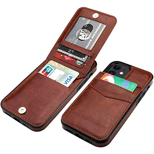 KIHUWEY Compatible with iPhone 12 Compatible with iPhone 12 Pro Case Wallet with Credit Card Holder, Premium Leather Magnetic Clasp Kickstand Heavy Duty Protective Cover 6.1 inch(Brown)