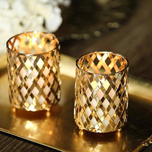 Efavormart 2 Pack 4' Tall Metal Gold Candle Holder Set Votive Candle Holder Set Wedding Table Centerpiece