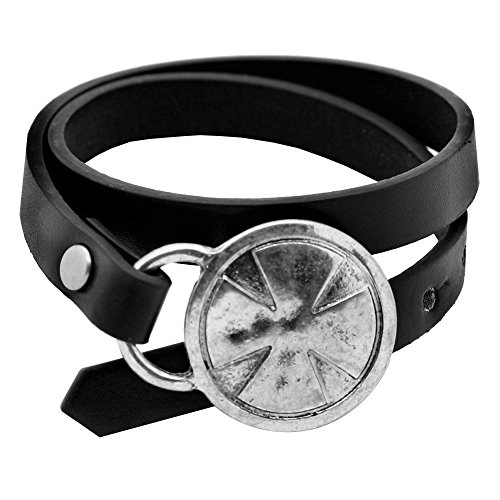 Preisvergleich Produktbild tumundo® 1 Armband Herren Lederarmband Leder Motiv Eisernes Kreuz Schwarz Silbern Biker Surfer Schmal Wickelarmband