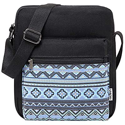 Messenger Bag for Girls, Vintage Small Lightweight Canvas Crossbody Bag for Women Fits Water Bottle
