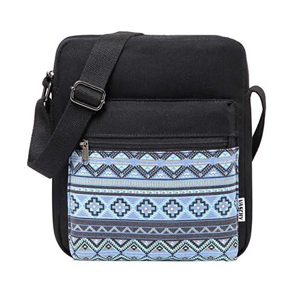 Messenger Bag for Girls, Vintage Small Lightweight Canvas Crossbody Bag for Women Fits Water Bottle 3