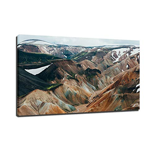 HD Print Canvas Framework Picture Posters Mountains Formed by Volcanic Lava in Iceland Paintings Modern Wall Artwork for Living Room Office Bathroom Bedroom Home Decorations Ready to Hang (12x16 inch)