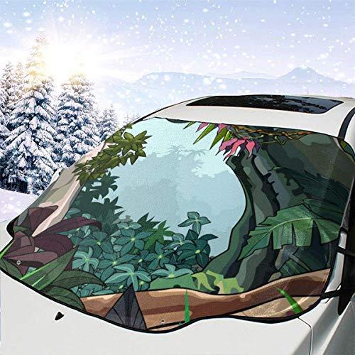 Cubierta de nieve para parabrisas de coche Bosque colorido de dibujos animados con árboles tropicales Cubiertas de nieve para parabrisas de automóviles para mantener la nieve apagada, 147x118cm