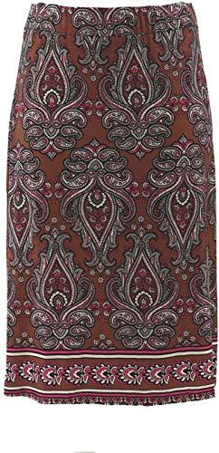 Bob Mackie Paisley Print Pull-on Knit Midi Skirt Taupe Multi L New A305228