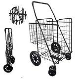 Double Basket Black Folding Utility Cart Folds Up Rolling Storage Shopping Carrier from SCF (Black) with Jet Black Bonus Privacy Liner