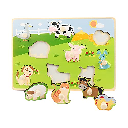 LEO & FRIENDS Farm Animals Peg Puzzles, Wooden Toddlers Puzzles for Age 1-4, Preschool Educational Pegged Knob Puzzle Toy, Wooden Learning Toys for Baby Boys and Girls, 9 Pieces