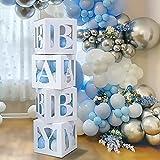 Babyparty Dekoration Ballonboxen - 4 Stück DIY Baby Blöcke Weiß Transparente Boxen Pack mit BABY Buchstaben Blaue Weiße Ballons für Jungen Babyparty,Blau Geburtstagsparty Supplies