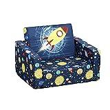 HOMCOM Kindersessel, Kinderzimmer Sofa, Kindersofa Mini-Sofa-Sessel mit Faltbar 2-in-1-Funktion, Klappmatratze,Polyester, Blau, 56 x 42 x 39 cm