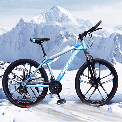 26-inch 21-Speed Men's Mountain Bike, High-Carbon Steel Hard-Tail Mountain Bike, Mountain Bike With Full Suspension Adjustable Seat (Ocean Blue)